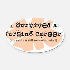 Retired Nurse FUNNY Oval Car Magnet
