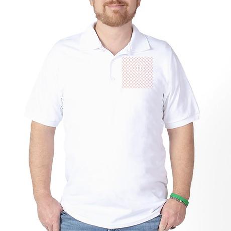Coral White Quatrefoil Pattern Golf Shirt