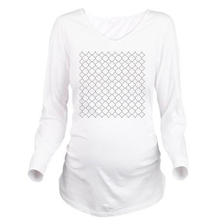 Gray White Quatrefoi Long Sleeve Maternity T-Shirt