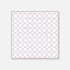 "Pink White Quatrefoil Patte Square Sticker 3"" x 3"""