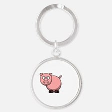 Pigs Fly Throw Round Keychain