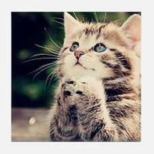 Cat Praying Tile Coaster