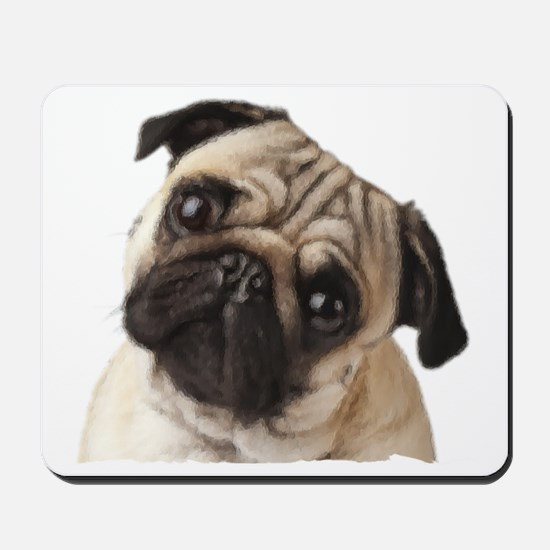 Pug Oil Painting Face Mousepad