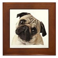 Pug Oil Painting Face Framed Tile