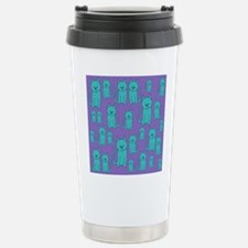 Teal Cats on Purple. Travel Mug