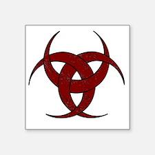 "Triple Crescent Moon in Red Square Sticker 3"" x 3"""