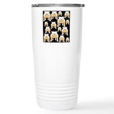 Tan Bulldogs on Black. Travel Mug