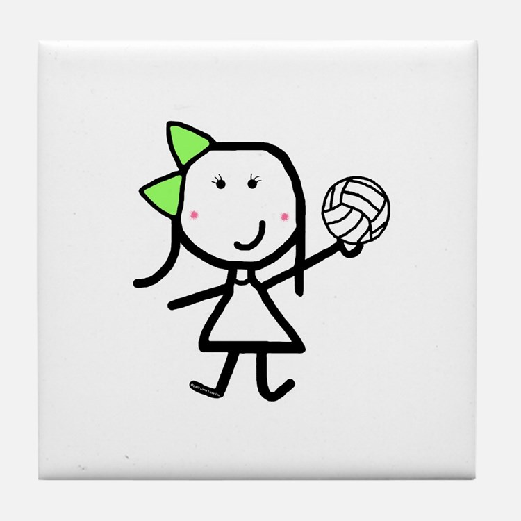 Girl & Volleyball Tile Coaster