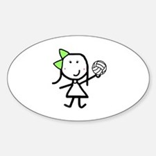 Girl & Volleyball Oval Decal