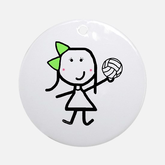 Girl & Volleyball Ornament (Round)