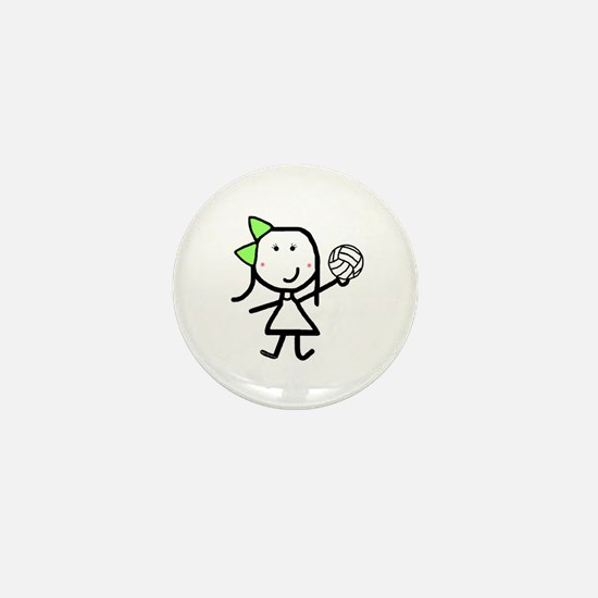 Girl & Volleyball Mini Button