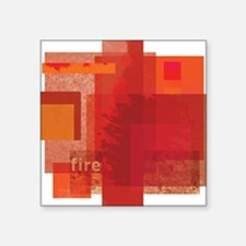 """Fire: Red Orange Abstract Square Sticker 3"""" x 3"""""""