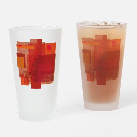 Fire: Red Orange Abstract Drinking Glass