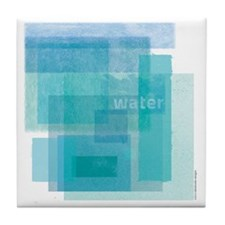 Water: Aqua Blue Abstract Tile Coaster