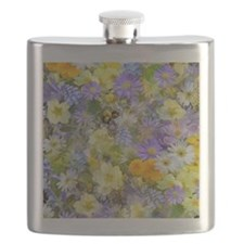 Purple and Yellow Spring Flowers Flask