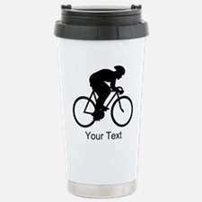 Cyclist Silhouette with Text. Travel Mug