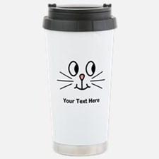 Cute Cat Face, Black Text. Stainless Steel Travel