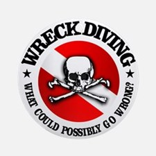 Wreck Diving (Skull) Round Ornament