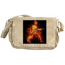 Flaming Skeleton Guitarist Messenger Bag