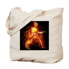 Flaming Skeleton Guitarist Tote Bag