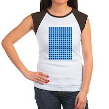 Modern Blue Plaid Women's Cap Sleeve T-Shirt