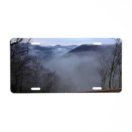mountains, smokies, foggy m Aluminum License Plate