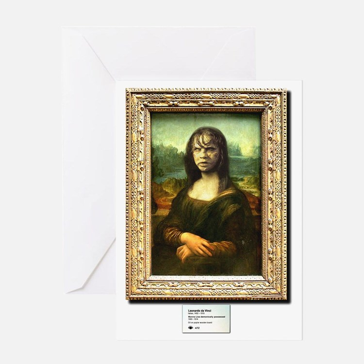 Mona Lisa demonically possessed Greeting Card