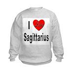 I Love Sagittarius (Front) Kids Sweatshirt