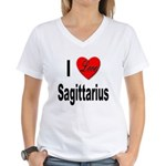 I Love Sagittarius (Front) Women's V-Neck T-Shirt