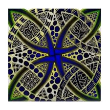 Celtic Knot Decorative Green Gold and Tile Coaster