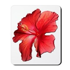 Hibiscus Bloom Ruby Red Mousepad