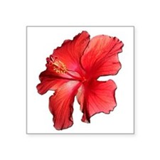 "Hibiscus Bloom Ruby Red Square Sticker 3"" x 3"""