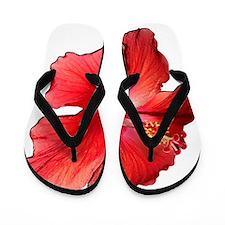 Hibiscus Bloom Ruby Red Flip Flops