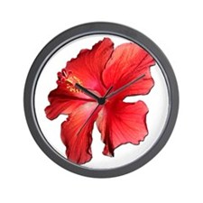 Hibiscus Bloom Ruby Red Wall Clock