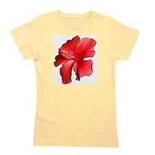 Hibiscus Bloom Ruby Red Girl's Tee