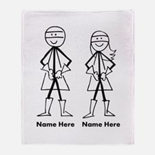 Super Stick Figure Couple Throw Blanket