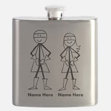 Super Stick Figure Couple Flask