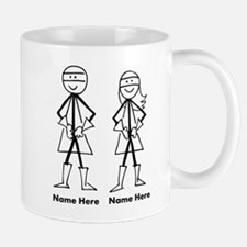 Super Stick Figure Couple Small Mugs