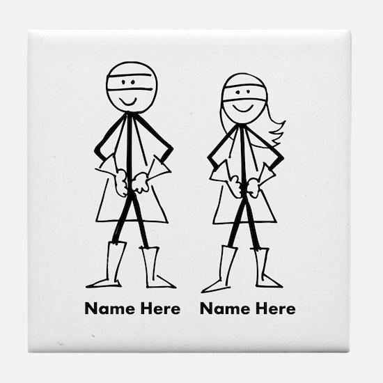 Super Stick Figure Couple Tile Coaster
