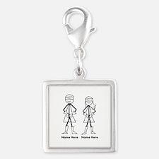 Super Stick Figure Couple Silver Square Charm