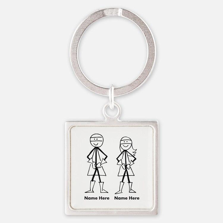 Super Stick Figure Couple Square Keychain