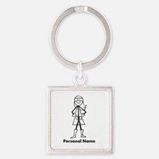 Personalized Super Girl Square Keychain