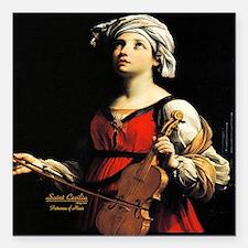 "Saint Cecilia Patroness Square Car Magnet 3"" x 3"""