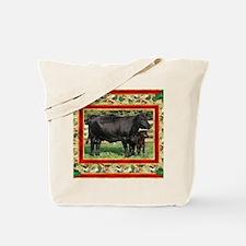Black Angus Cow  Calf Christmas Card Tote Bag