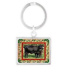 Black Angus Cow  Calf Christmas Landscape Keychain