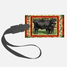 Black Angus Cow  Calf Christmas  Luggage Tag