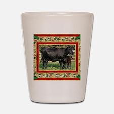 Black Angus Cow  Calf Christmas Card Shot Glass