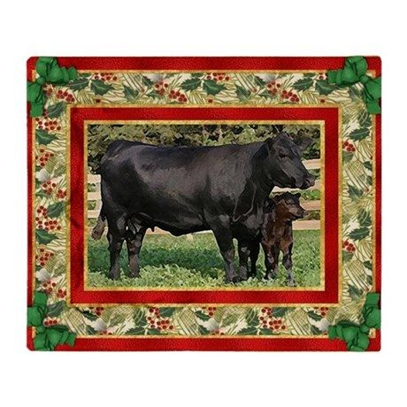 Black Angus Cow Calf Christmas Card Throw Blanket
