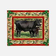 Black Angus Cow  Calf Christmas Card Throw Blanket