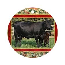 Black Angus Cow  Calf Christmas Car Round Ornament
